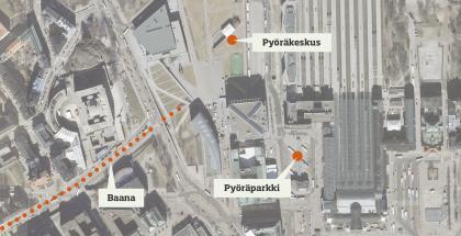 LAD ideat kartalla; Pyöräkeskus ja -parkki baanan tuntumassa