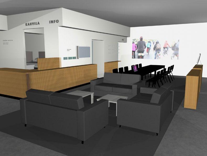 Tila-, kaluste- ja valaistussuunnitelma  Malmin Pyöräkeskukselle